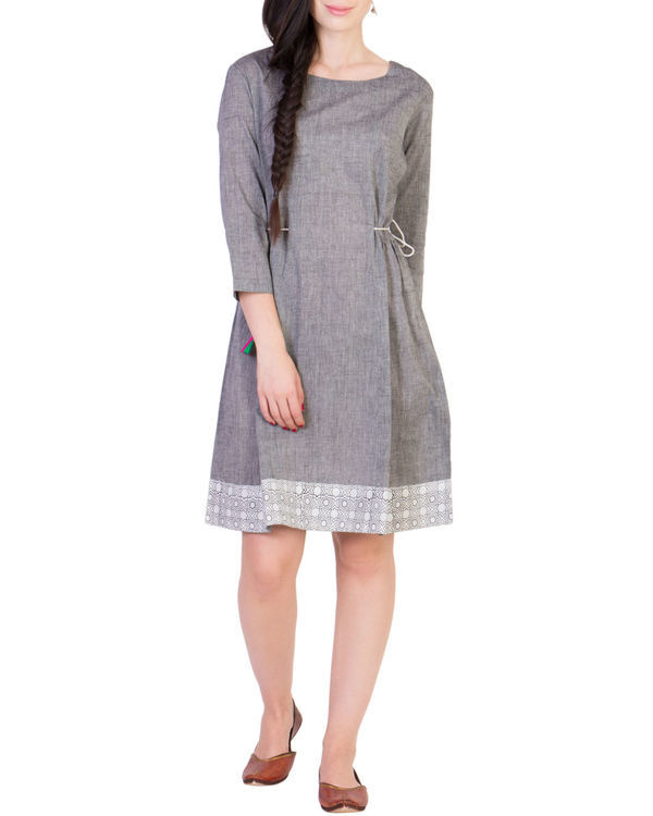 Grey tunic with printed border 1