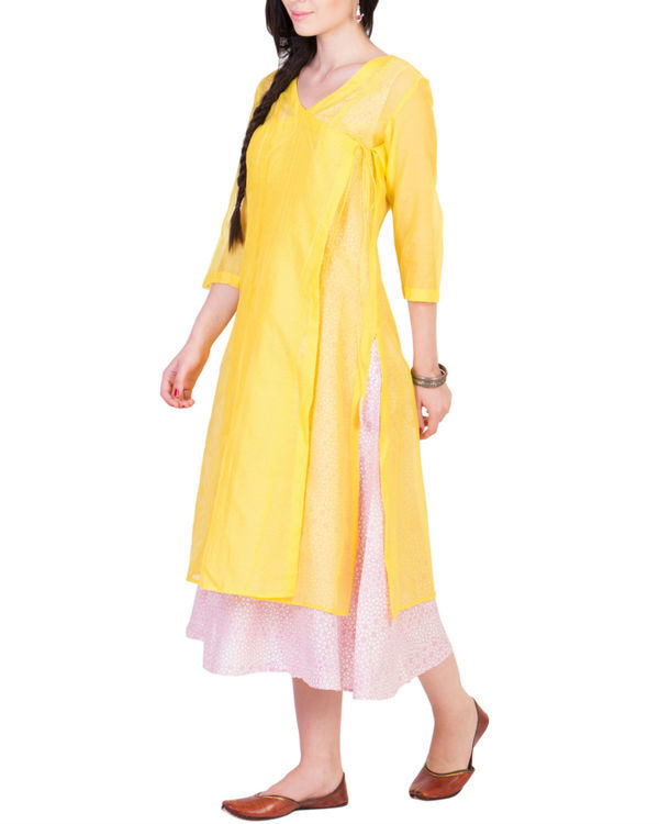 Yellow wrap kurta with printed tunic inside 1