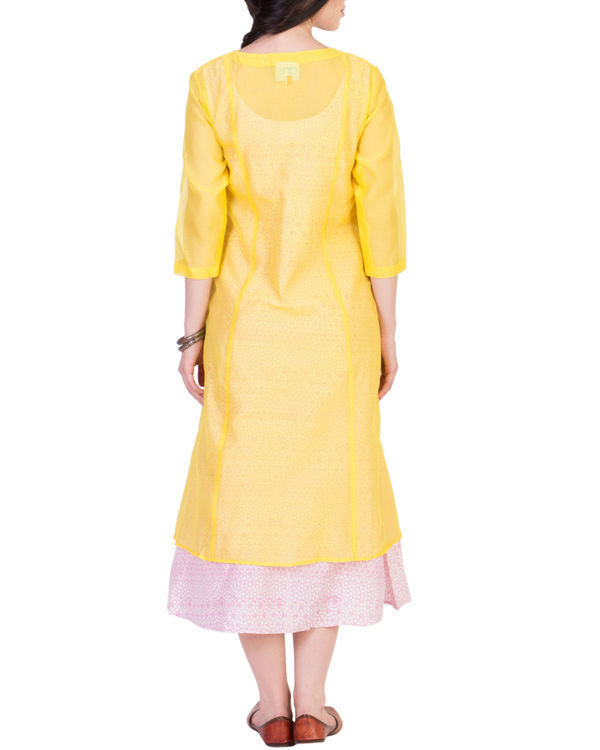 Yellow wrap kurta with printed tunic inside 2