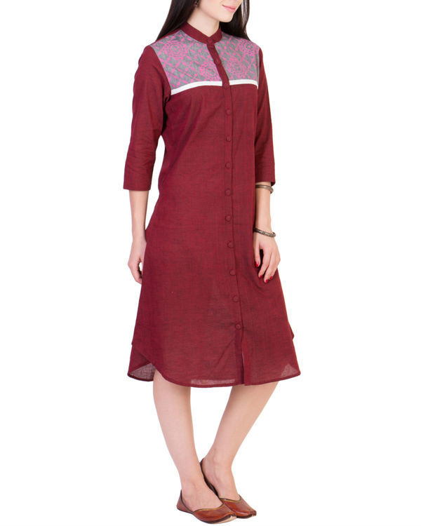 Maroon tunic with printed yoke 1