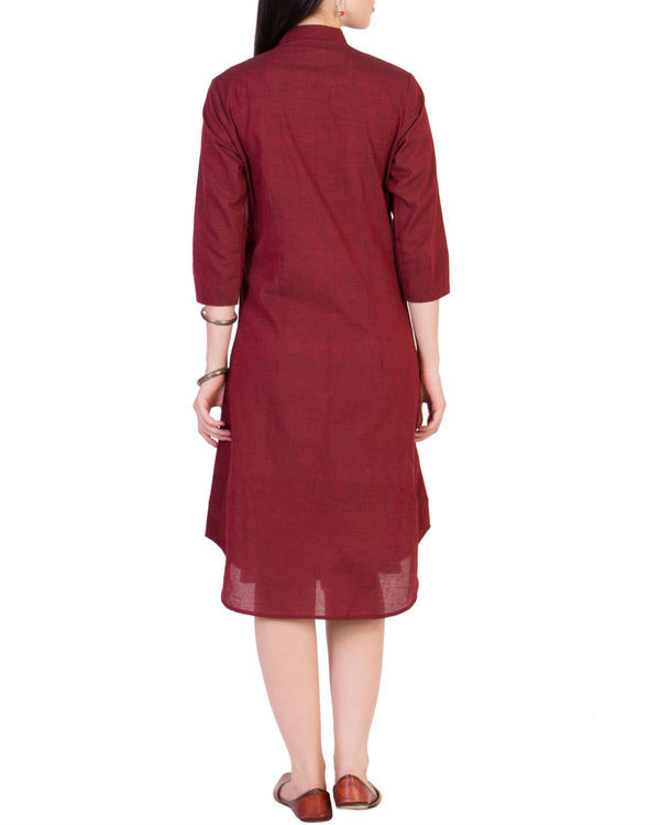 Maroon tunic with printed yoke 2