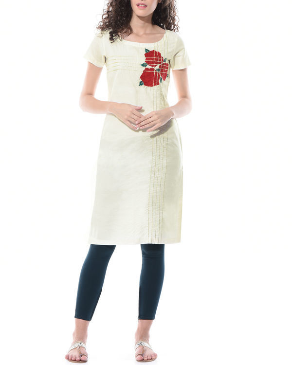 Straight linen embroidered tunic 1