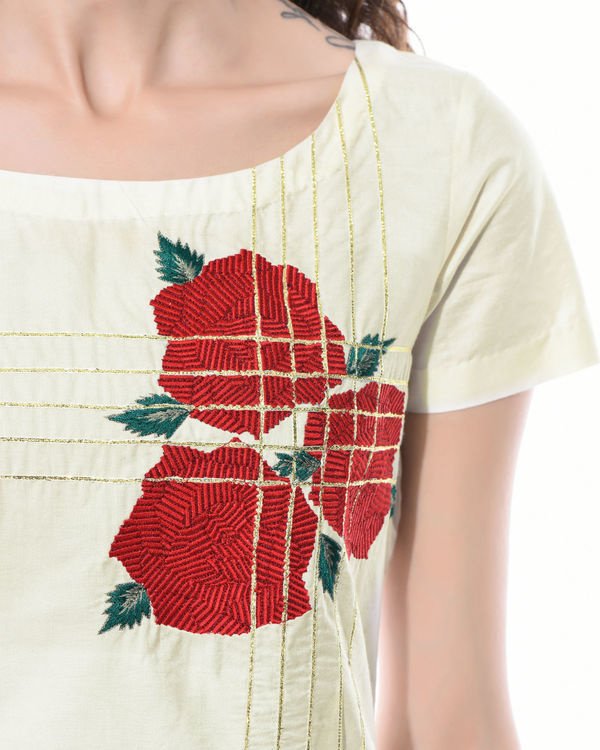 Straight linen embroidered tunic 3