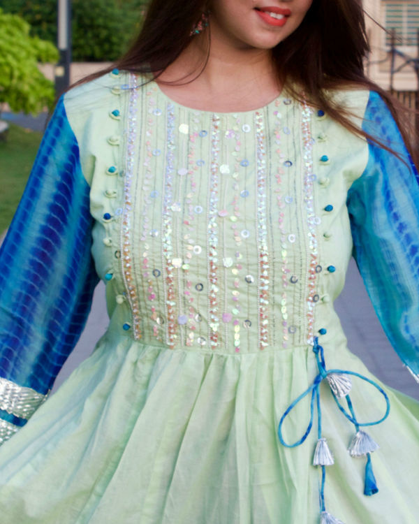 Mint green and blue tunic 1