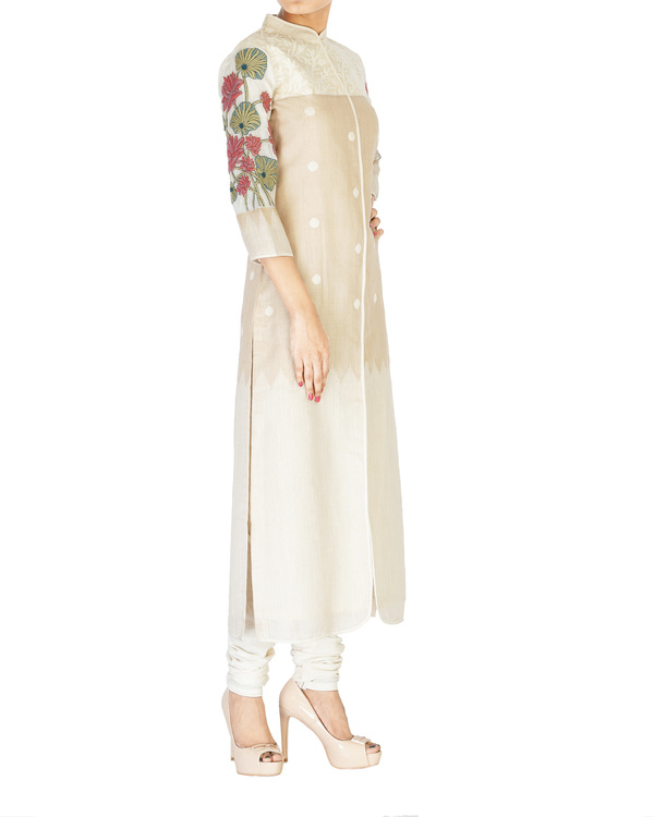 Straight cotton tunic with embroidered sleeves 1