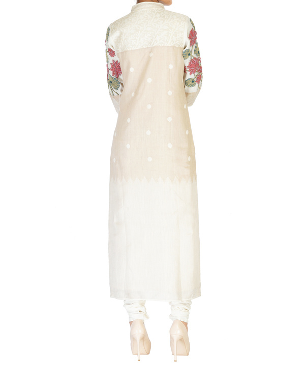Straight cotton tunic with embroidered sleeves 2