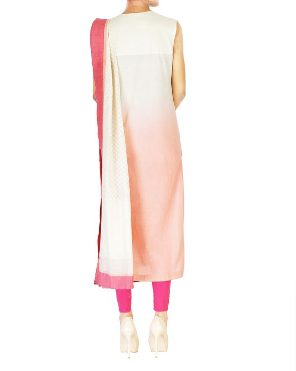Pink embroidered jacket with ombre kurta set 1