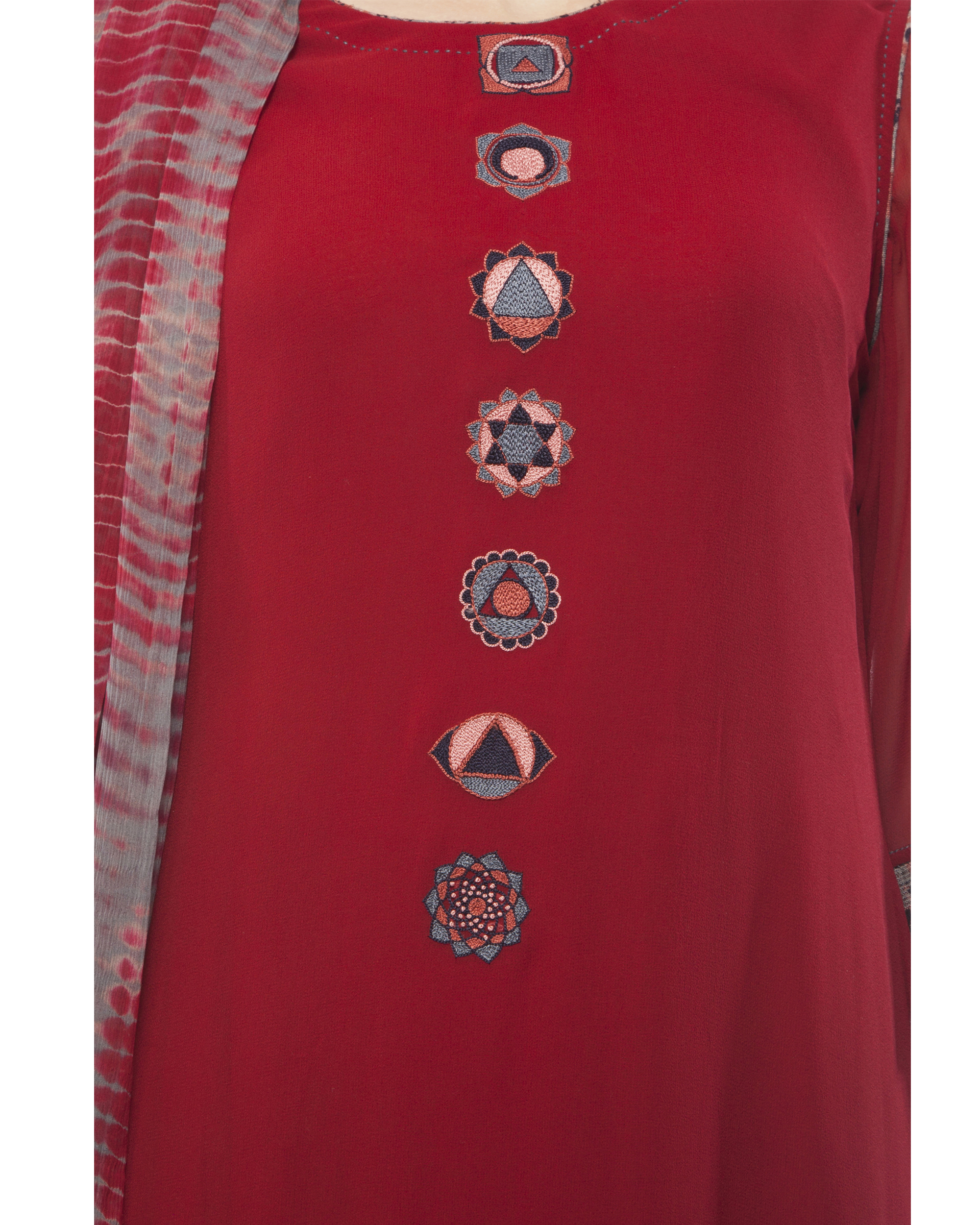 Ihram Kids For Sale Dubai: Round Neck Front Embroidered Kurta, Comes With A Palazzo