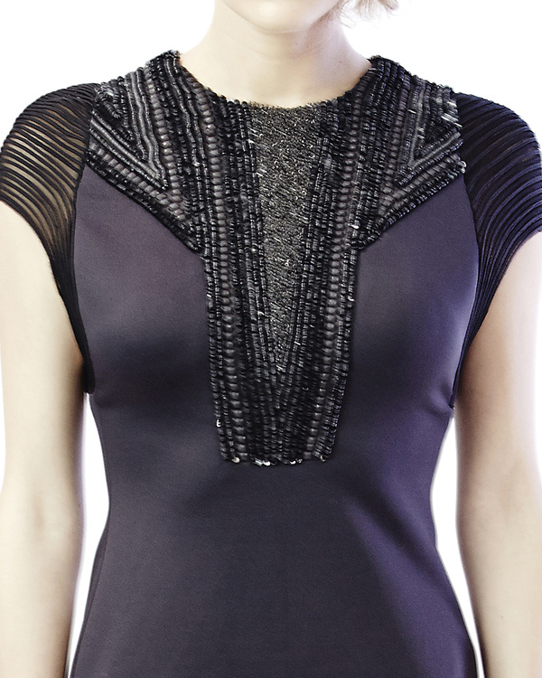 Mesh and embroidered shift dress 1