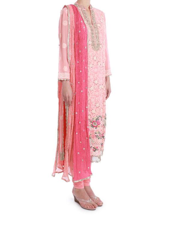 Apricot blush lucknowi chikan kurta set 1