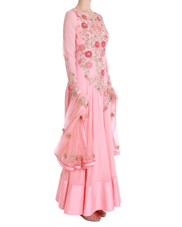 Floral blush floor length kalidaar 1