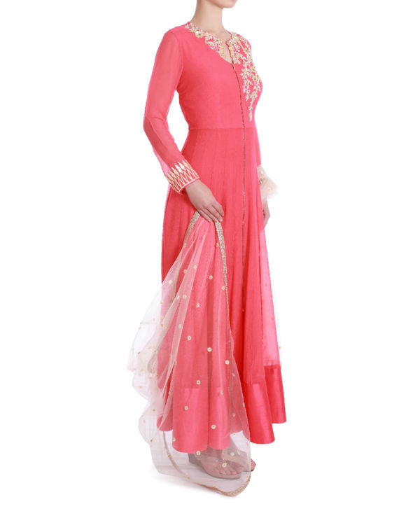 Rose demure floor length kalidaar 1