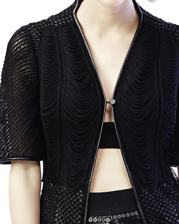 Mesh leather applique jacket 1