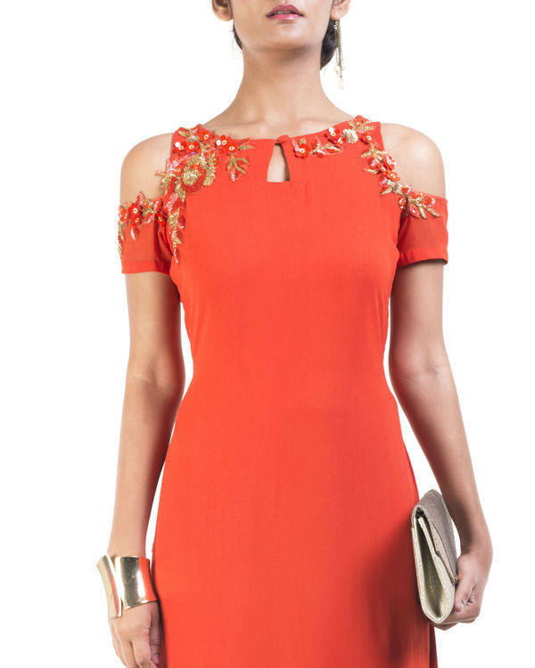 Orange cold shoulder tunic 2