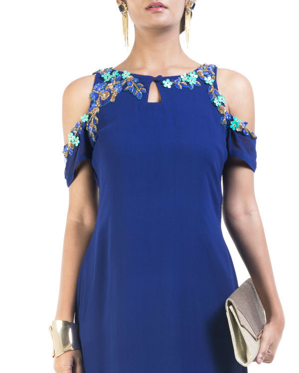 Blue cold shoulder tunic 2