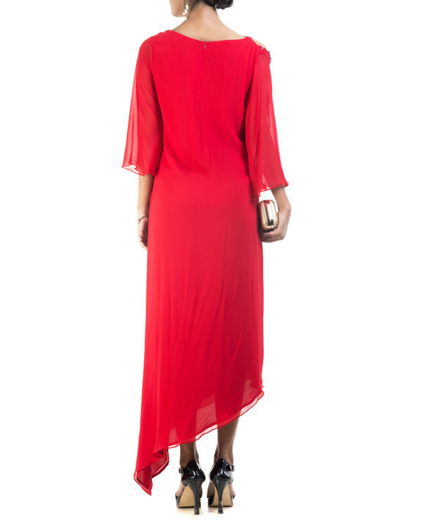Red asymmetrical dress 1
