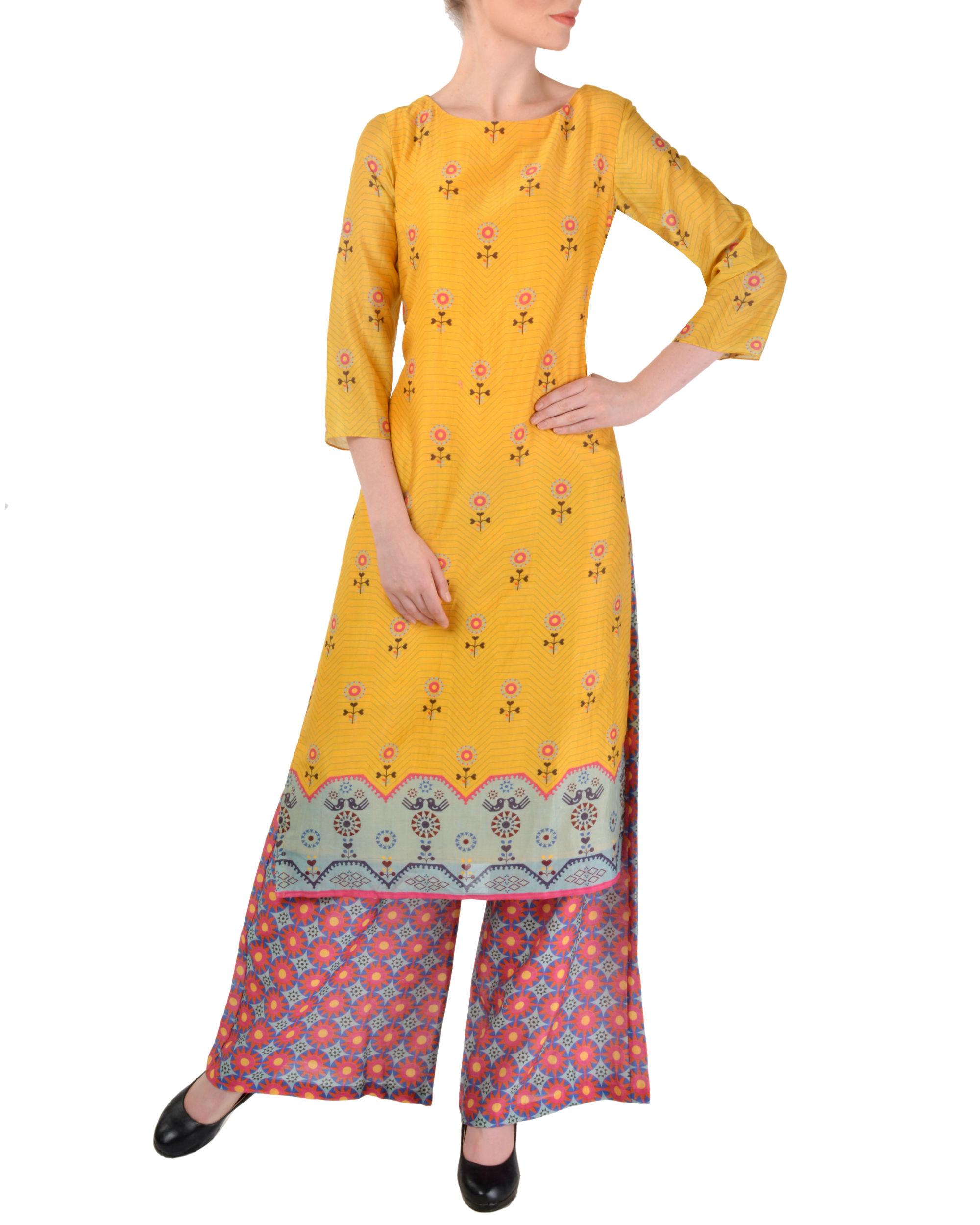 Ihram Kids For Sale Dubai: Yellow Tunic With Pink Palazzo Set By Sougat Paul