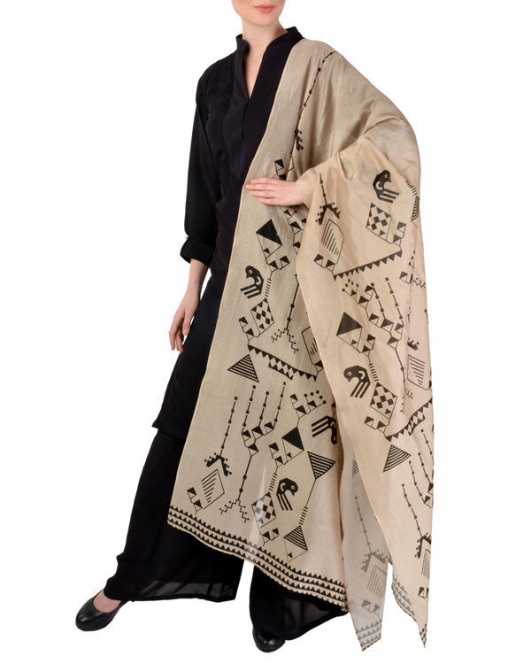 Black kurta churidar with dupatta set 1