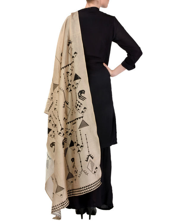 Black kurta churidar with dupatta set 2