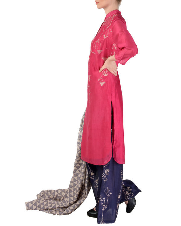 Pink and blue kurta palazzo with dupatta set 1