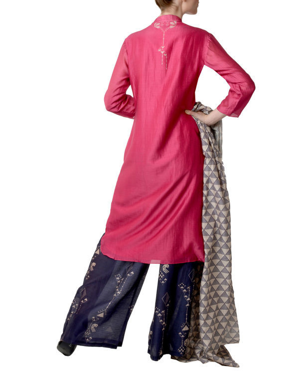 Pink and blue kurta palazzo with dupatta set 2