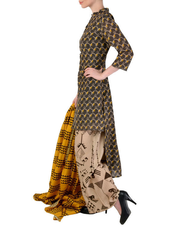Black and beige kurta palazzo with dupatta set 1
