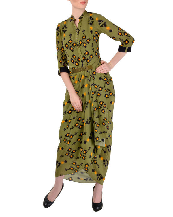 Olive green dhoti shirt dress 1