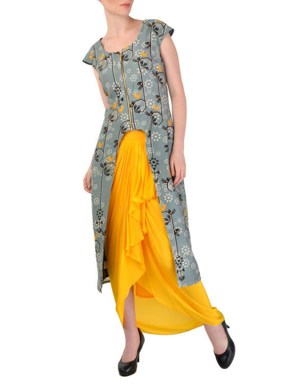 Grey tunic with yellow dhoti pants 1