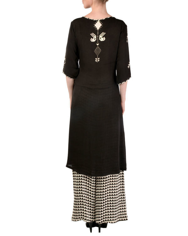 Black kurta with printed palazzo set 2