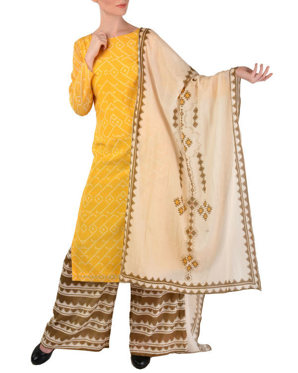 Yellow kurta palazzo with dupatta set 1