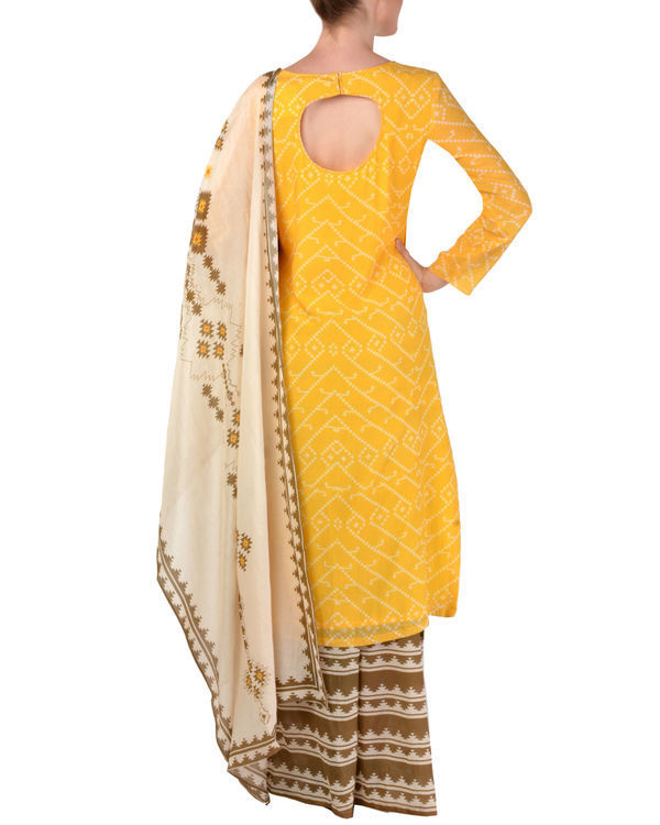 Yellow kurta palazzo with dupatta set 2