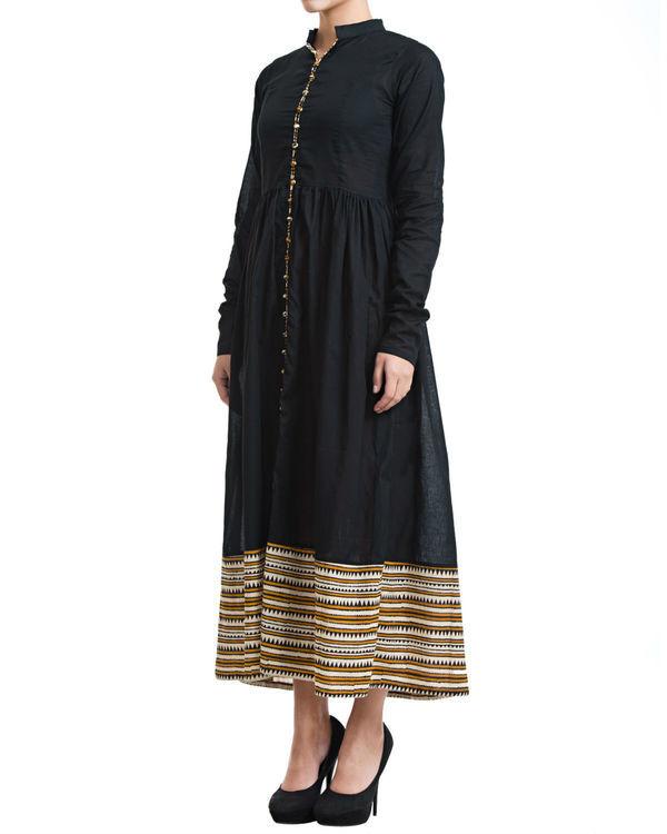 Black gathered maxi dress 1