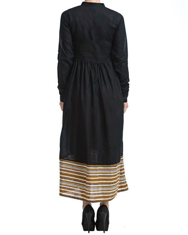 Black gathered maxi dress 2