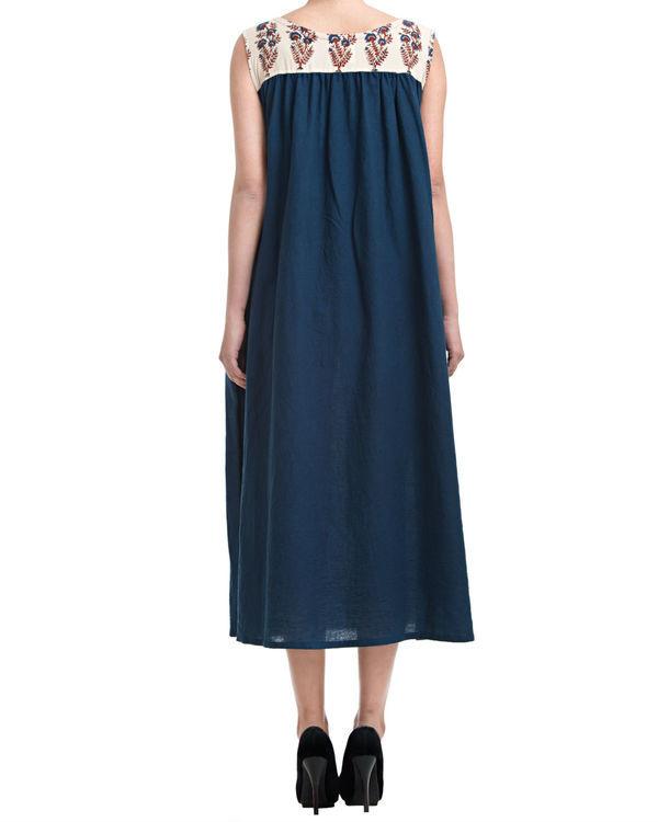 Indigo gathered dress 1