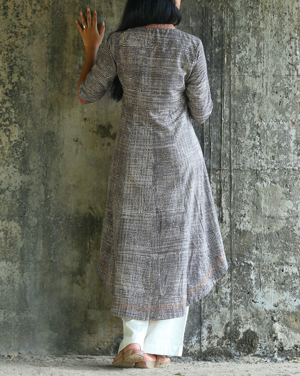 Grey dabu printed cotton kurta 1