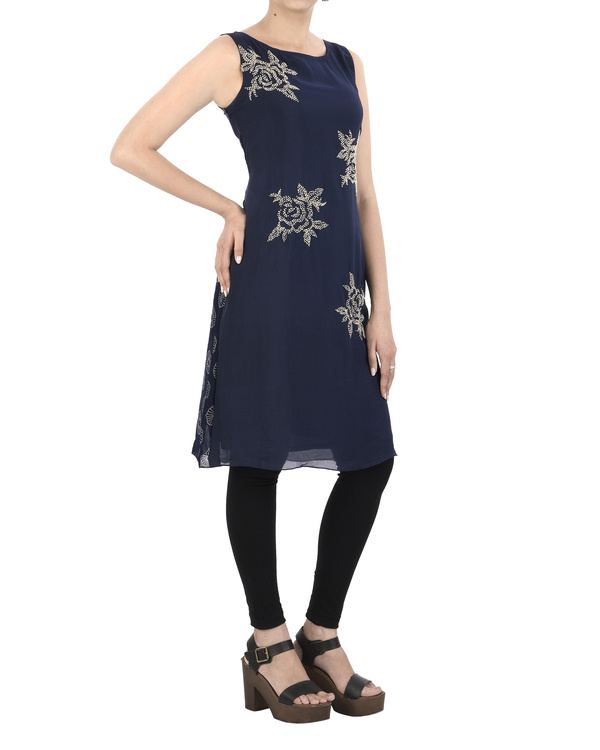 Indigo Tunic with French Knot Embroidery 2