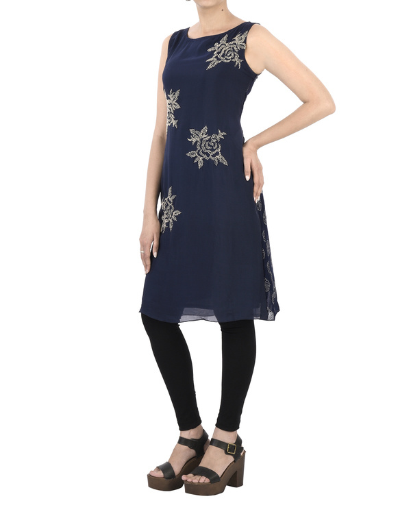 Indigo Tunic with French Knot Embroidery 3