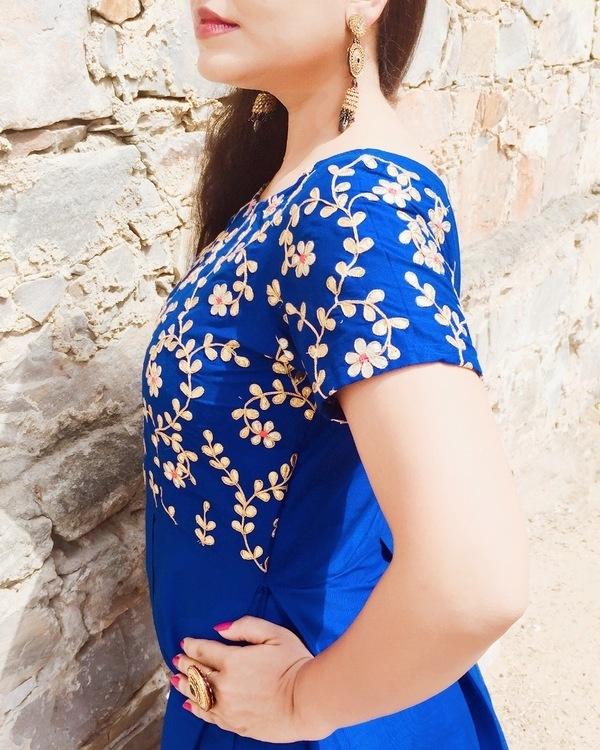 Royal blue pleated dress 1