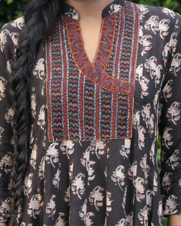 Black block printed anarkali kurta 1