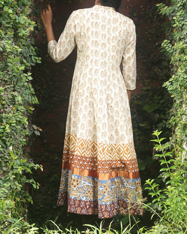 Off white block printed anarkali kurti 2