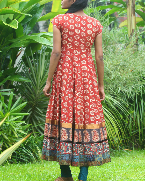 Rust and off white floral anarkali kurti 3