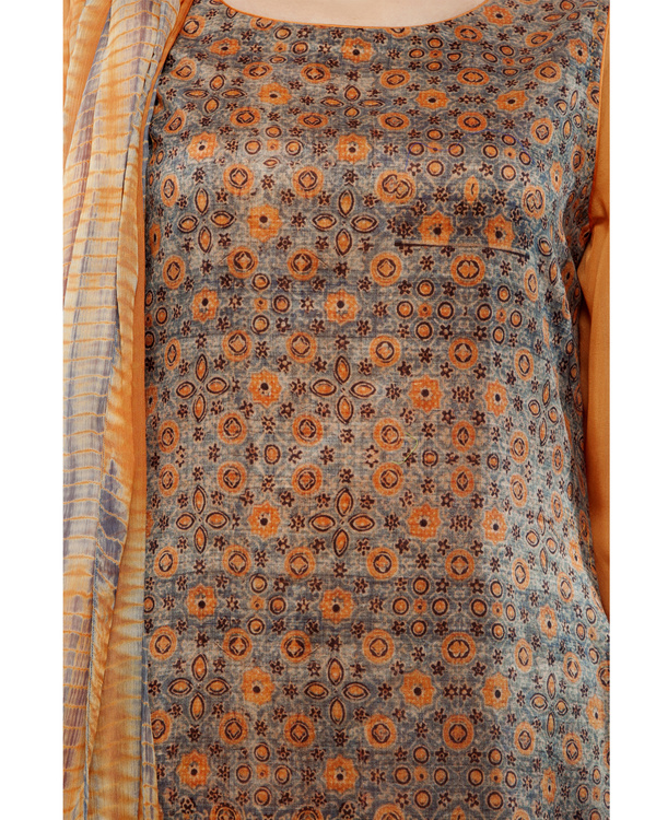 Ajrakh print round neck  kurta with chiffon layer, comes with a palazzo  tie & dye dupatta 1