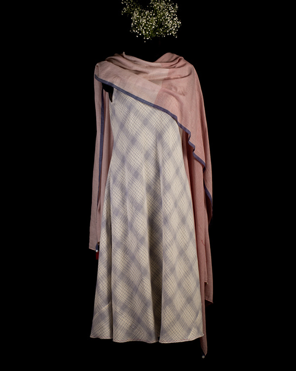 Ecru and blue poncho scarf dress 1