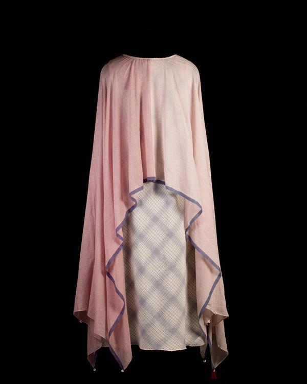 Ecru and blue poncho scarf dress 2