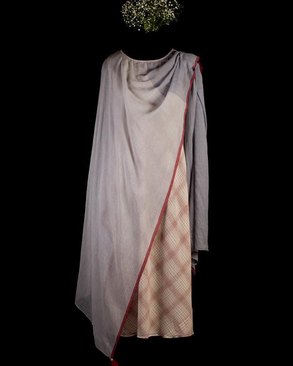 Ecru and red poncho scarf dress 1