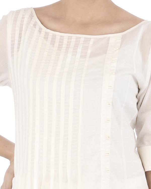 White cotton Dress with grey applique 1