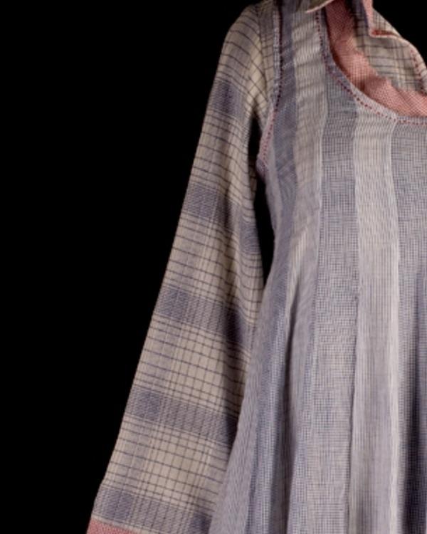 Ecru and blue double layered tunic 2