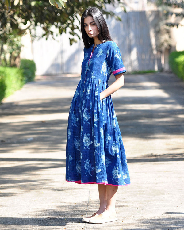 Blue bird buttoned dress 1