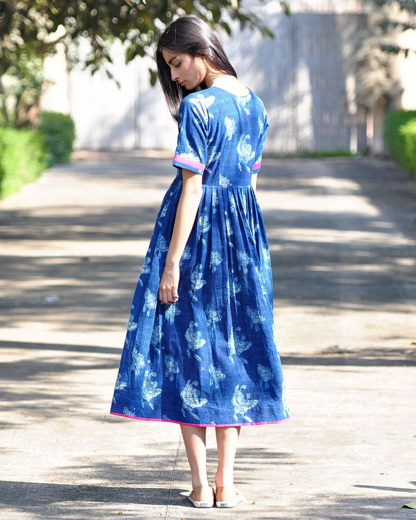 Blue bird buttoned dress 2