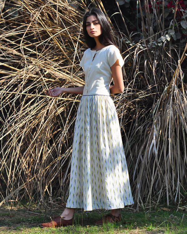 Ivory ikat buttoned maxi 1